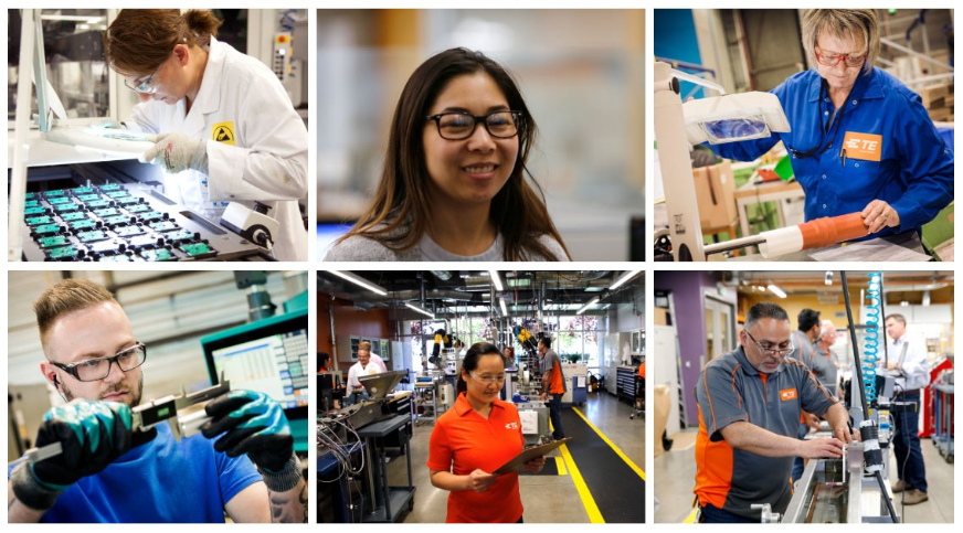 TE Connectivity diverse employees from different backgrounds women engineering manufacturing